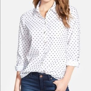 Foxcroft Roll Tab Swiss Dot Shirt, 8, NWT